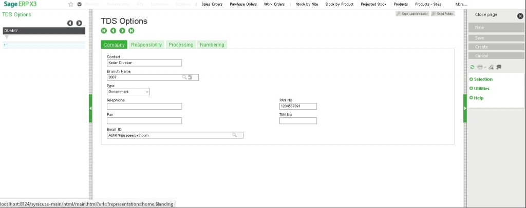 TDS Options in Sage X3