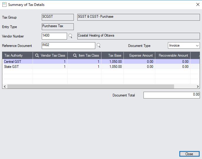 Sage 300cloud Tax Detail Summary