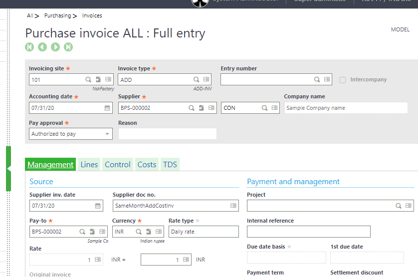 Additional Cost Functionality in Sage X3