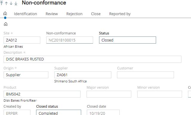 Non-Conformance Module in Sage X3