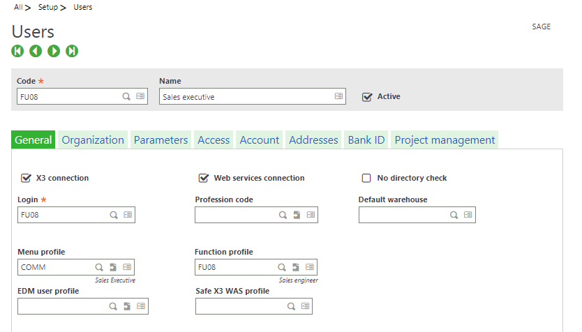 Enable CRM access to Sales Reps in Sage X3