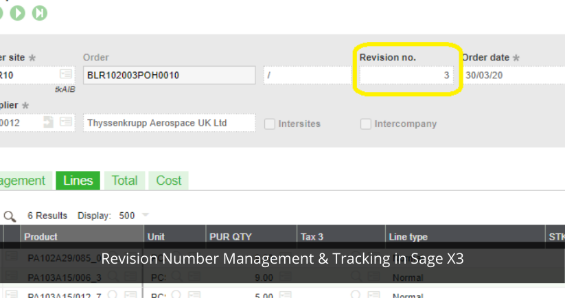 Revision Number Management & Tracking in Sage X3